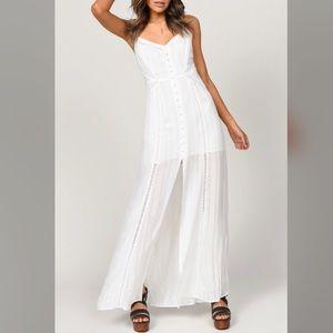 Button Up, Open Back Maxi Dress- White Maxi